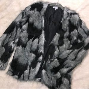 TOBI faux fur open front jacket grey black shag